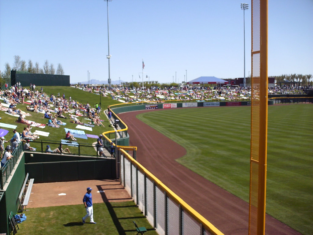 Sloan park in the ballparks the curves and dimensions of the outfield wall mirror those at wrigley field including the signature cut outs in each corner amipublicfo Gallery