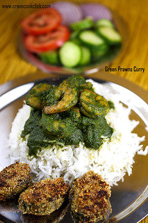 Green Prawns curry with Bangda Fry :)