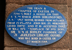 Photo of John Shillingford, Dean and Chapter of Exeter, John Bodley, and Thomas Bodley blue plaque