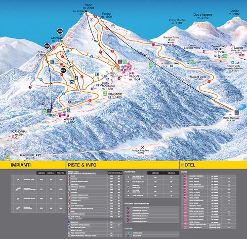 Monte Bondone - mapa sjezdovek