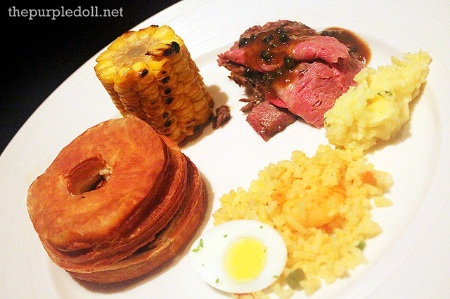 Third Plate - Cronut de France, corn, ribeye steak, mashed potato and jambalaya