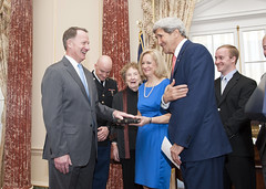 Secretary Kerry Shares a Laugh With Assistant Secretary Smith