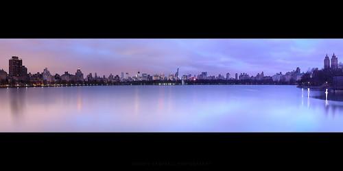 nyc usa lake newyork water sunrise twilight cityscape unitedstates centralpark cityskyline