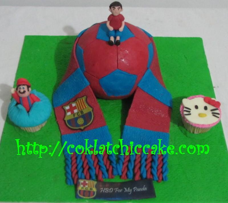 Kue ulang tahun barcelona, mario bross dan hello kitty