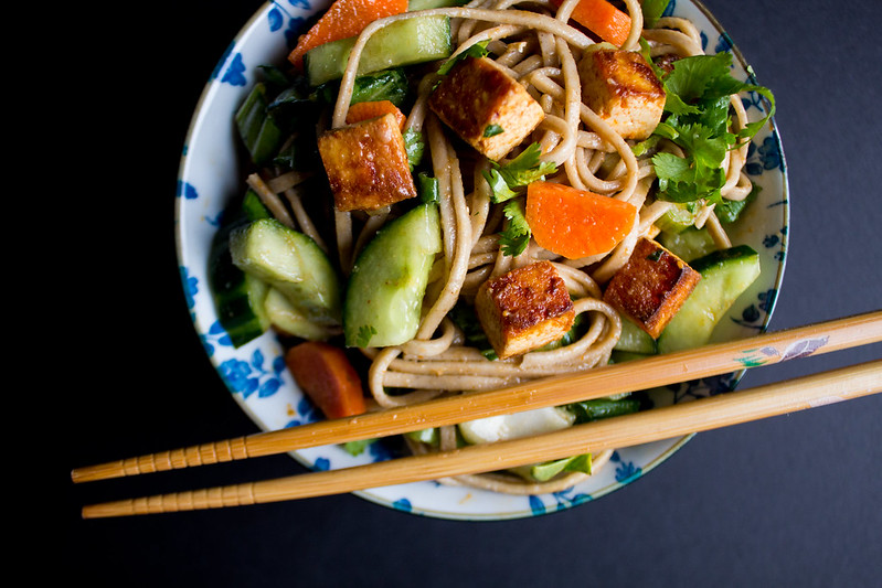 spicy soba noodles with pan fried tofu