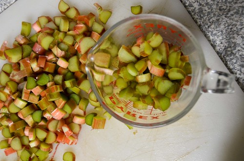 Chopping 4 cups of rhubarb