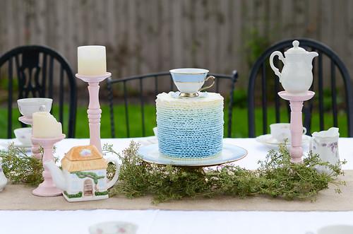 Ombre Blue Buttercream Ruffle Cake