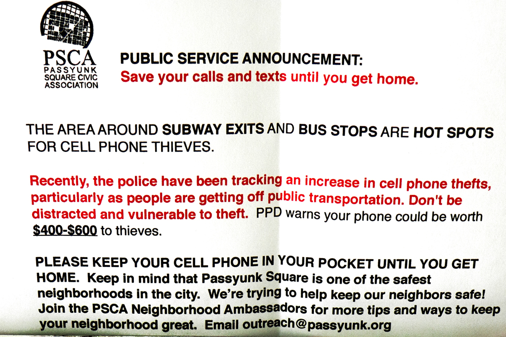 Warning-against-cell-phone-thefts--Passyunk-Square-(detail)
