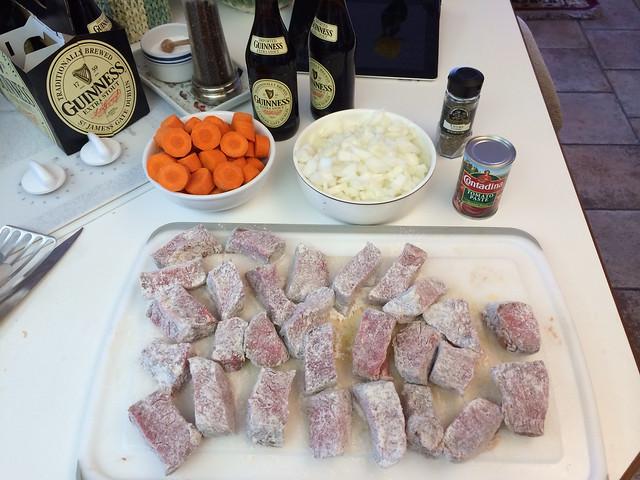 Ingredients, beef & Guinness stew (Phone photo: Paul Woodford)