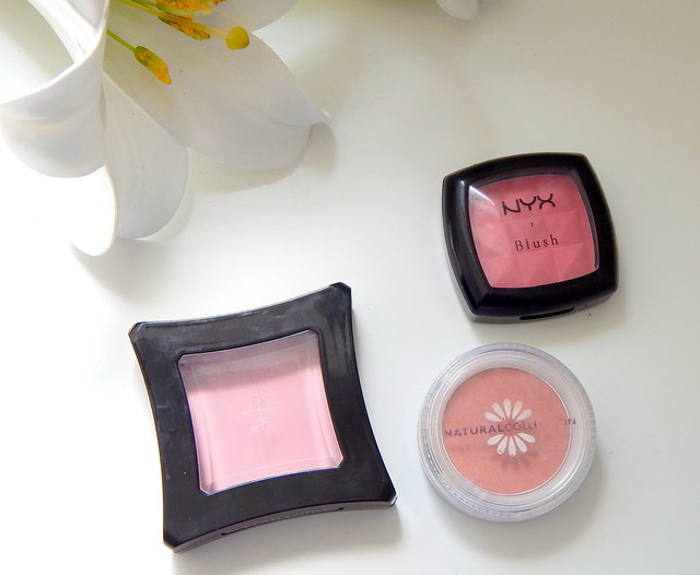 Illamasqua Powder Blush in Katie, Natural Collection Blush in Melba and NYX Blush in Pinky