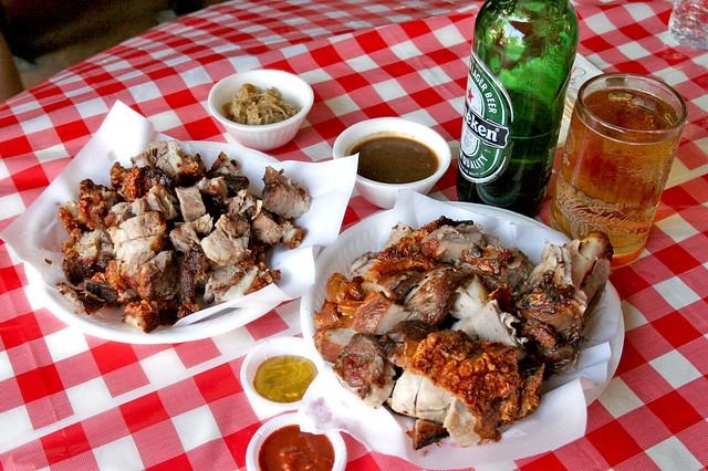 Awesome beer snacks! What's better than hot and crispy roast pork?