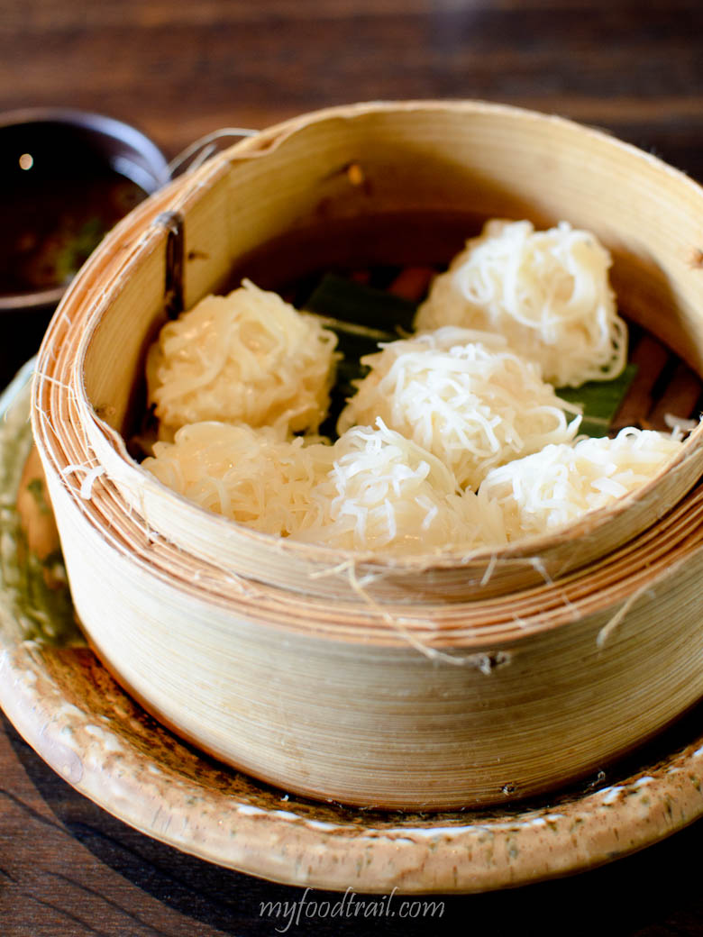 Steamed prawn dumplings - 6 pieces of Chinese inspired shumai with spicy ponzu - Sake Restaurant, Melbourne