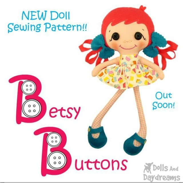 Meet Betsy Buttons! She's as easy as A B C ... A for adorable B for Betsy & C for cute!  #SewingPattern #dollmaking #patterndesign #patternmaker #sewingforkids #felt #buttons #cutedoll #kawaii
