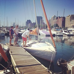Ready to do some sailing today? J/22\'s are already starting to head off the dock! #belmontharbor #chicago #lakemichigan