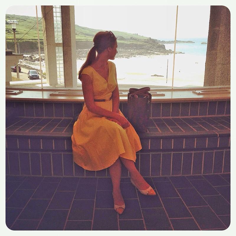 Yellow dress at The Tate, St. Ives, Cornwall