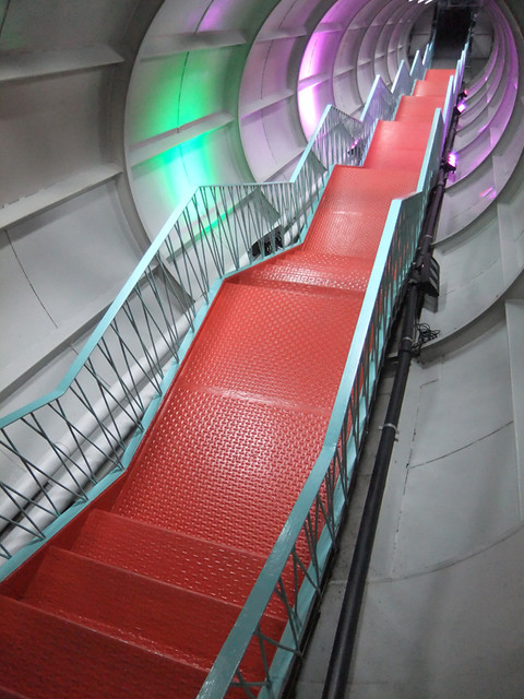 the staircase in the Atomium in Brussels, Belgium