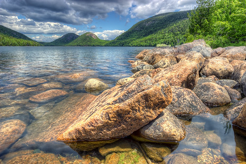 park summer usa lake water outdoors pond rocks warm unitedstates crystal cloudy great maine granite nik hdr acadia mountdesert clearwater mountdesertisland jordanpond acadianationalpark photomatix jeffparkes opticalbits