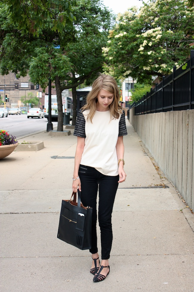 chelsea+lane+zipped+blog+minneapolis+fashion+style+blogger+jcrew+tweed+tee+justfab+signature+skinny+zipper+leona+sandals+kate+spade+saturday+inside+out+tote1