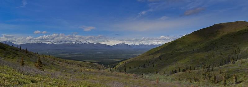 Panorama Wrangell Range from Caribou Creek - Wrangell St. Elias National Park