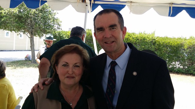 Lt. Governor Ralph Northam also joined part of the tour and showed his support for Virginia State Parks. Pictured here with Friends of First Landing Vice-President Helen Carter.