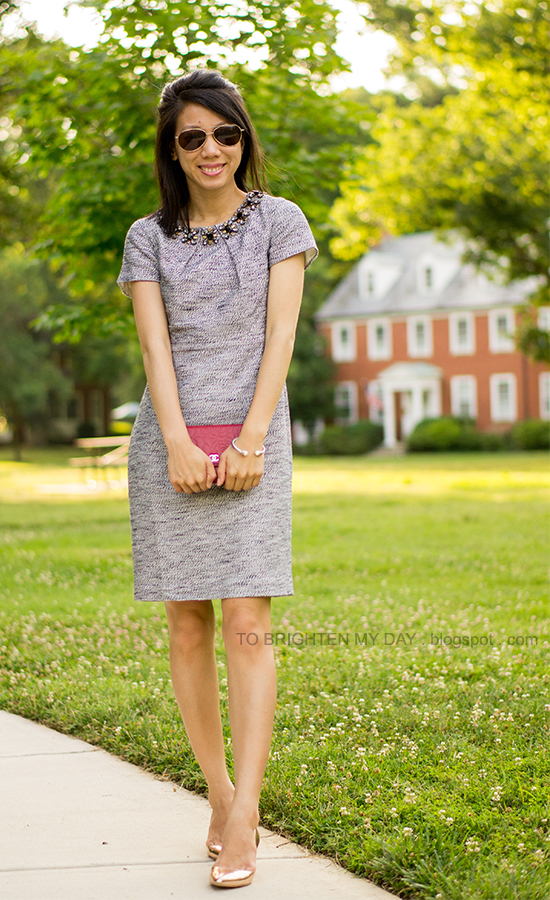 jeweled tweed dress, red clutch, rose gold metallic wedges