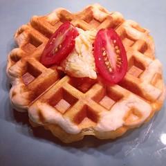 meal, breakfast, belgian waffle, food, dish, waffle,