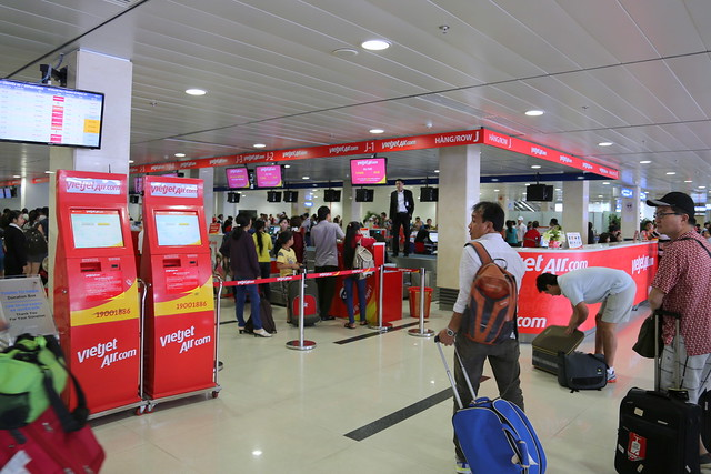 The VietJet counter at the HCMC domestic terminal