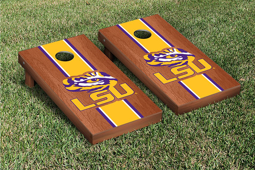 LSU Tigers Cornhole Game Set Rosewood Stained