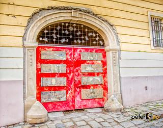 Random Boarded Up Red Door in Bratislava, Slovakia