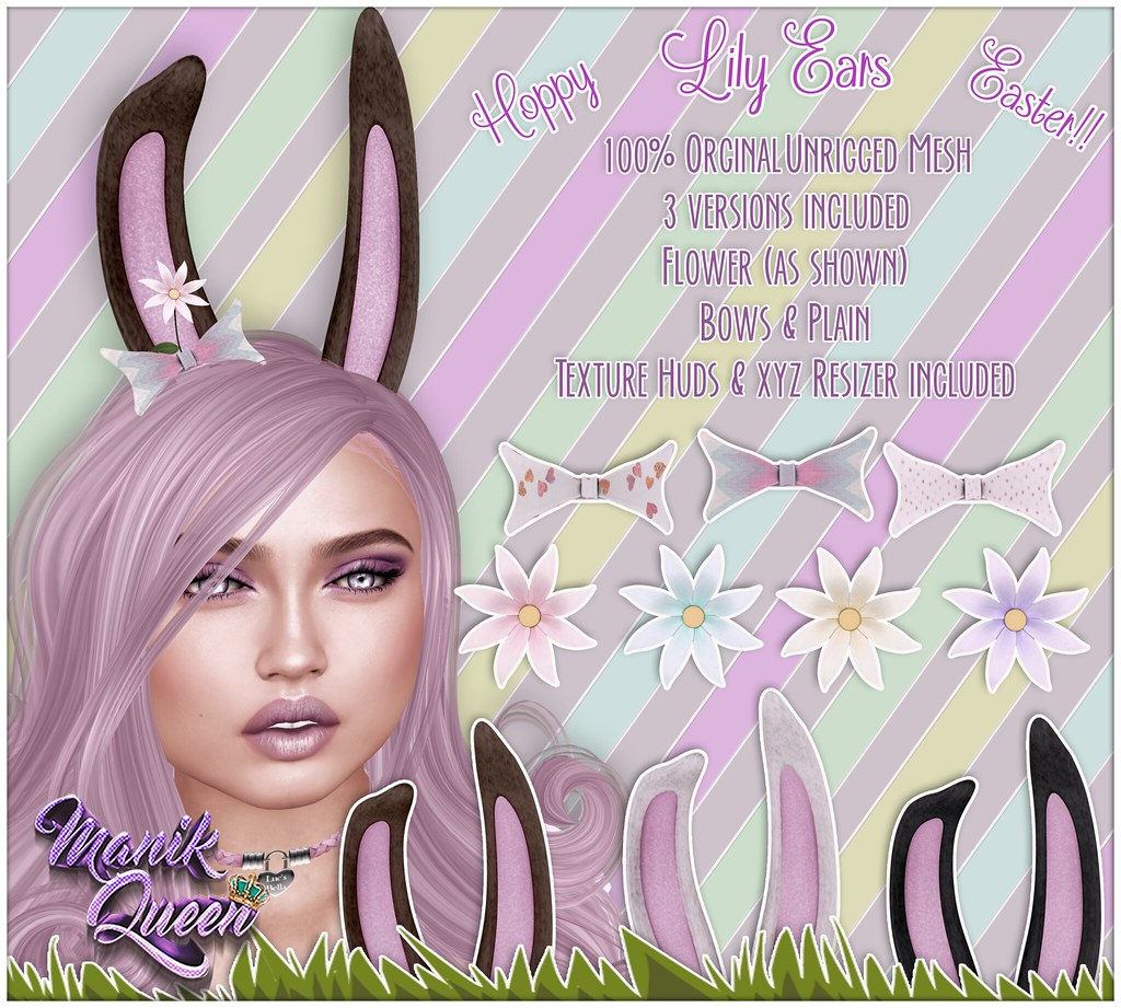 MANIK QUEEN - Lily Ears - Group gift! - SecondLifeHub.com