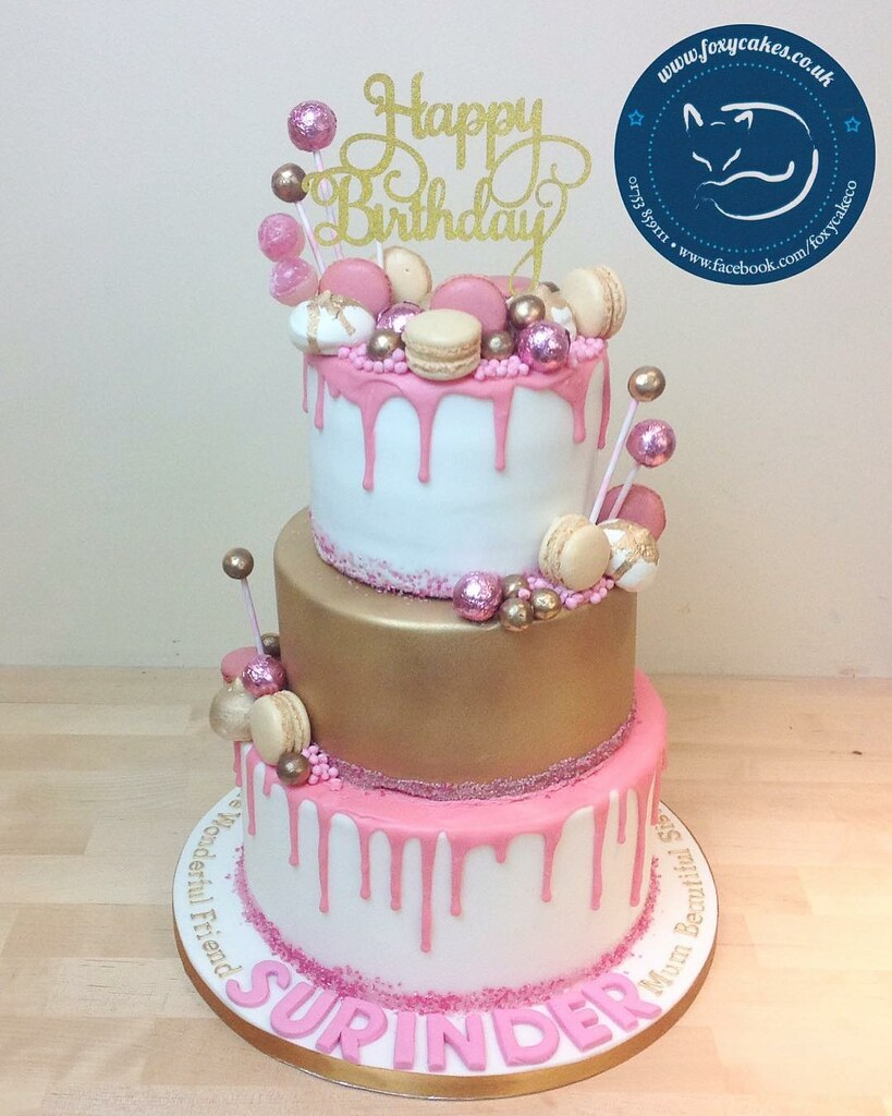 3 Tier Drip Cake With Sweets And Macarons Cake Thefoxycakeco