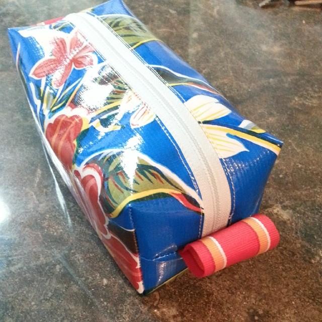 oil cloth box pouch blue