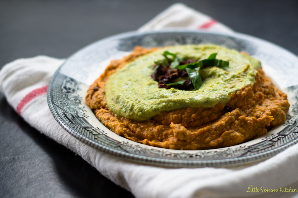 Sundried Tomato and Basil Layered Hummus via LittleFerraroKitchen.com