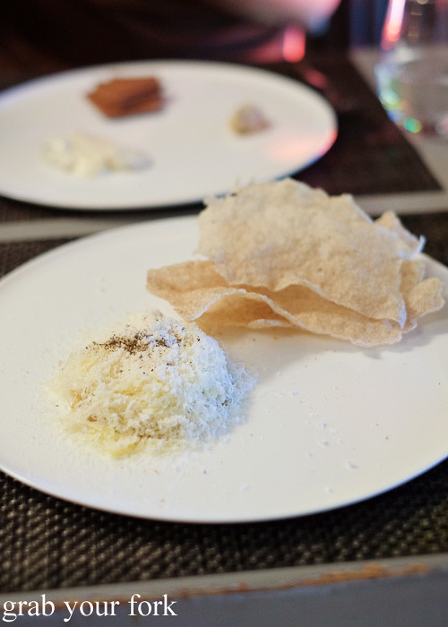 Monte Veronese di Malga cheese with buckwheat crackers at Cafe Paci, Darlinghurst
