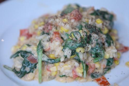 Corn, Tomato, Spinach, Ricotta Risotto