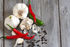 Garlic and peppers background by Speleolog