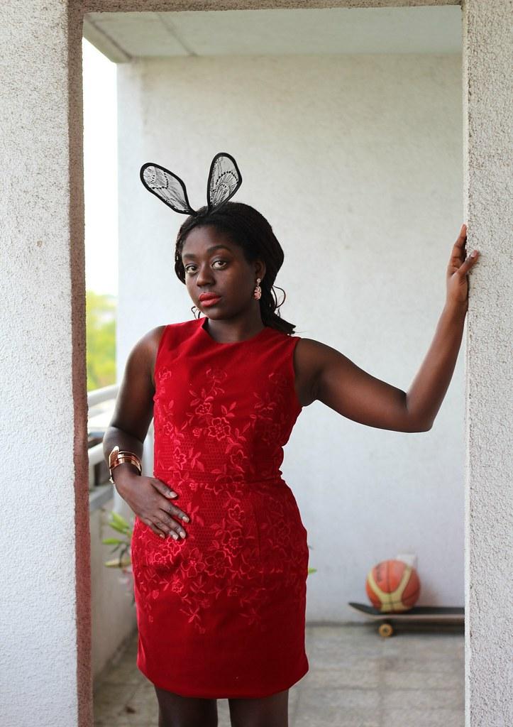 Red Dress Bunny Ears Lois Opoku lisforlois