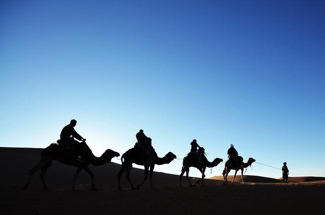 Paseo en dromedario, que no camello, por el desierto de Merzouga