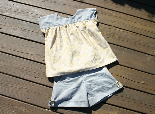 Oliver and S Ice Cream top with Brownie Goose Sailor Shorts