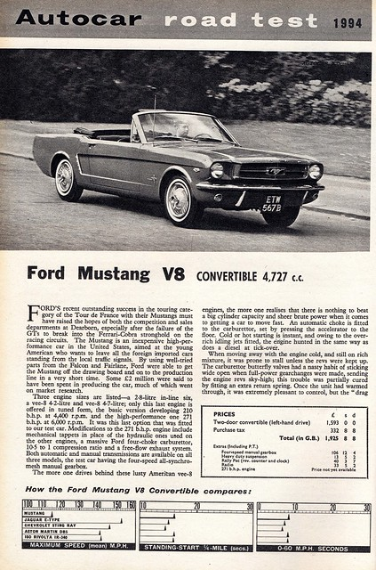 Ford Mustang V8 Convertible Road Test 1964 (1)