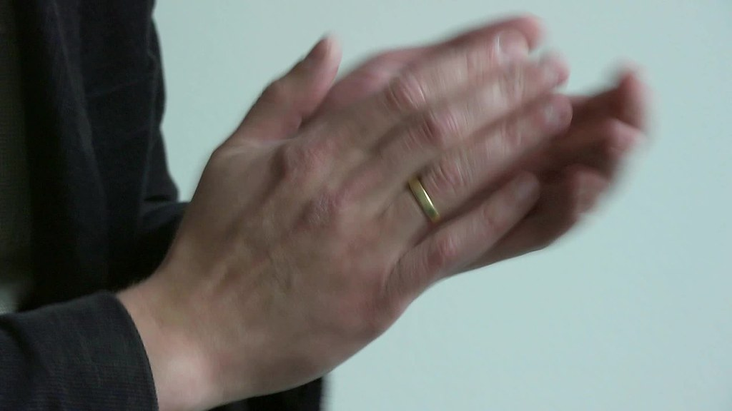Applause in slow motion: clapping man's hands. Free HD video footage