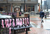 Breast Cancer Awareness Ribbons on Display in Downtown Lansing - Placemaking in Action Photo by Michigan Municipal League