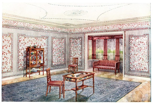 chromolithograph of early 20th century interior design idea using wallpaper