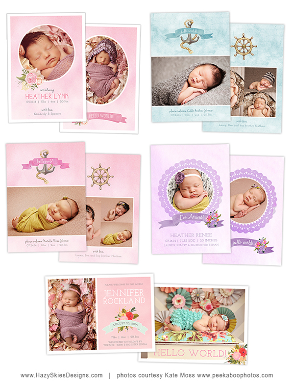 Birth Announcement Template for Photographers - Photoshop Photography Templates www.hazyskiesdesigns.com