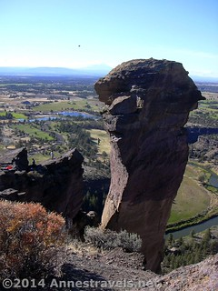 The tight rope walkers on the Monkey Face, Smith Rock State Park, Oregon