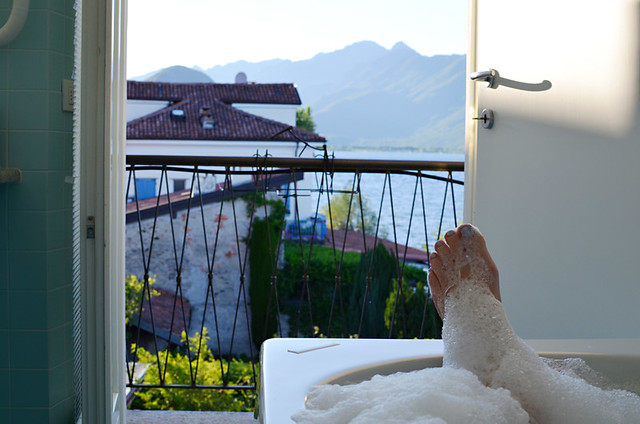 View from Hotel Belvedere bathroom, Isola dei Pescatori, Lake Maggiore, Italy