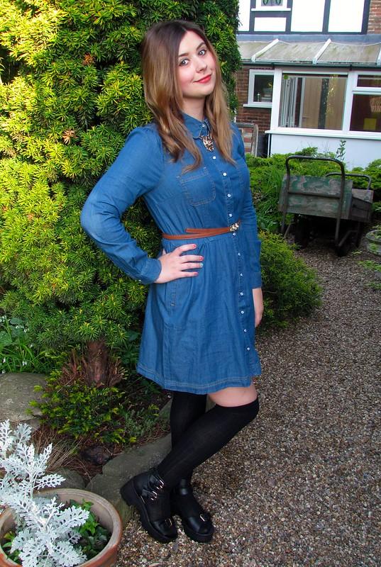 Oasis Denim Scalloped Collar Dress