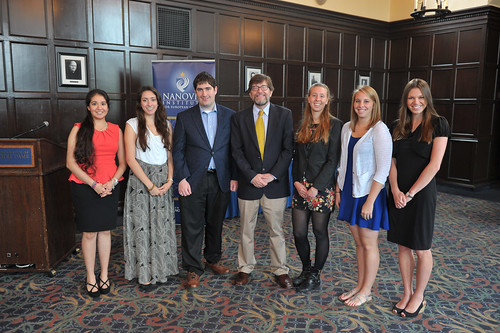 Director A. James McAdams with the graduating class of minors in European studies. Copyright University of Notre Dame, 2014.