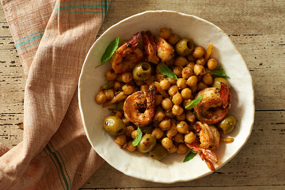Savory Shrimp with Chickpeas, Green Olives and Preserved Lemon