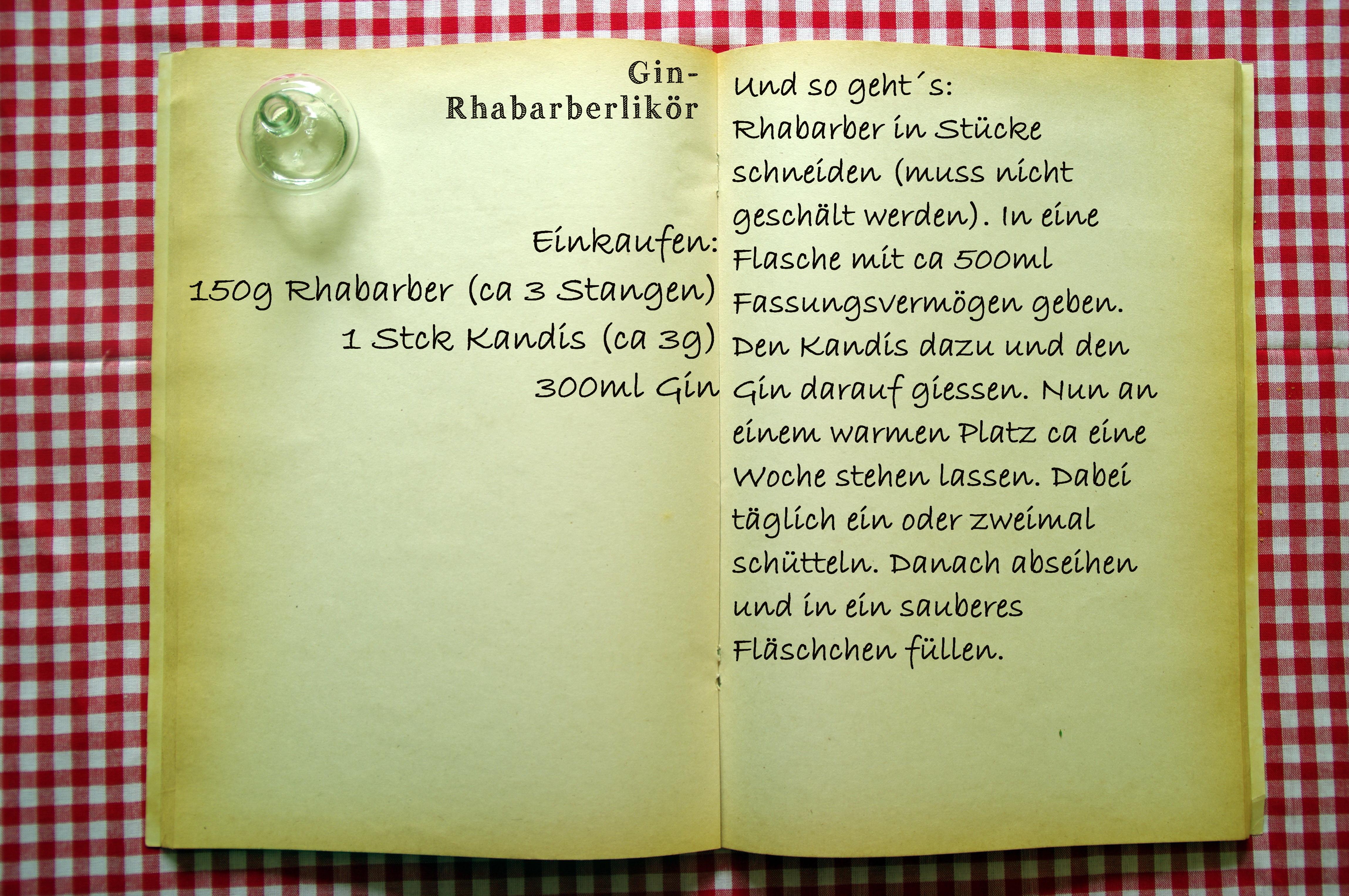 Einkaufszettel Rhabarberlikör by Glasgefluester